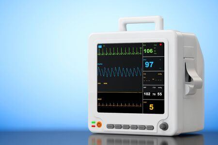 cardiac care: Health care portable cardiac monitoring equipment on a blue background. 3d Rendering Stock Photo