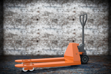 jack pack: Hand Pallet Truck on a grunge background. 3d Rendering