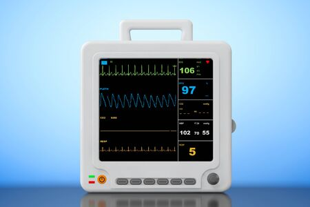 cardiac: Health care portable cardiac monitoring equipment on a blue background. 3d Rendering Stock Photo