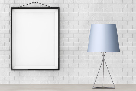 furniture idea: Modern Fashion Table Lamp in front of Brick Wall with Blank Frame extreme closeup. 3d Rendering