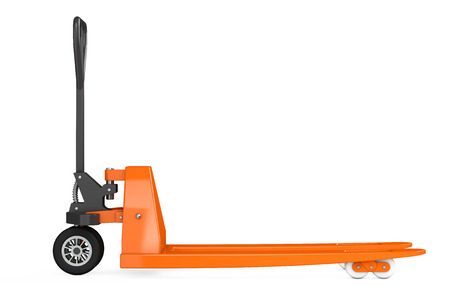 pallet truck: Hand Pallet Truck on a white background. 3d Rendering Stock Photo