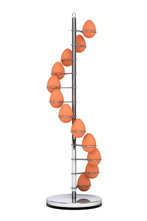 intact: Steel Eggs Holder in the shape of Spiral on a white background. 3d Rendering