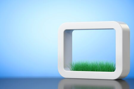 planter: Grass in White Ceramics Planter on a blue background. 3d Rendering