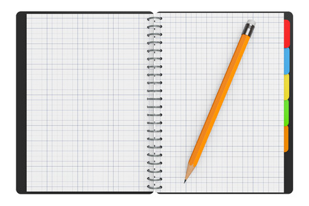 organiser: Personal Diary or Organiser Book with Blank Pages and Pencil on a white background. 3d Rendering Stock Photo