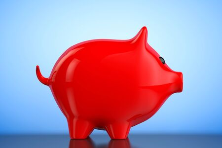 piggybank: Red Piggy bank style money box on a blue background. 3d Rendering