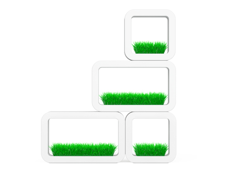 ceramics: Set of Grass in White Ceramics Planters on a white background. 3d Rendering
