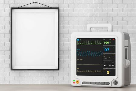 cardiac care: Health Care Portable Cardiac Monitoring Equipment in front of Brick Wall with Blank Frame. 3d Rendering