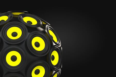Audio Speakers as Sphere on a black background. 3d Rendering