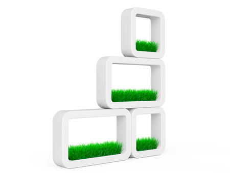 planters: Set of Grass in White Ceramics Planters on a white background. 3d Rendering