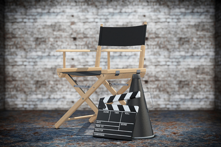 filmmaker: Director Chair, Movie Clapper and Megaphone on a grunge background. 3d Rendering