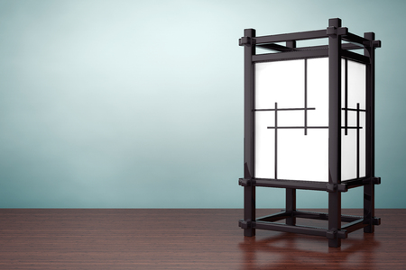 night table: Old Style Photo. Asian Wooden Night Lamp on the table. 3d rendering