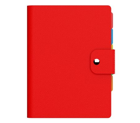adress book: Personal Diary or Organiser Book with Red Leather Cover on a white background. 3d Rendering Stock Photo