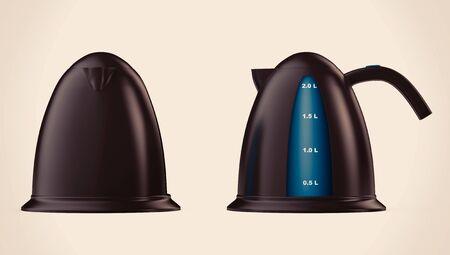 kettles: Calderas modernas sobre un fondo blanco. Representación 3d