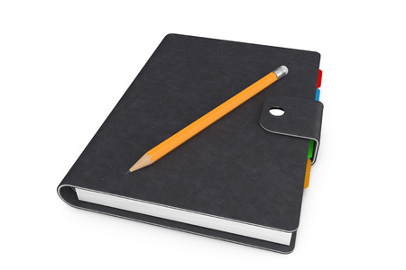 organiser: Personal Diary or Organiser Book with Black Leather Cover and Pencil on a white background. 3d Rendering Stock Photo