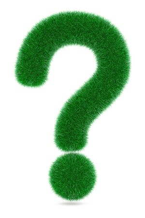whose: Grassed Question Symbol on a white background. 3d Rendering
