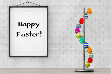 intact: Steel Eggs Holder in the shape of Spiral in front of Brick Wall with Happy Easter Sign extreme closeup. 3d Rendering