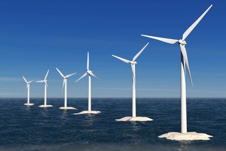 kinetic: Alternative Energy Concept. Windmills in the Ocean extreme closeup. 3d Rendering