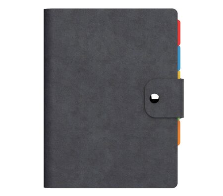 Personal Diary or Organiser Book with Black Leather Cover on a white background. 3d Rendering