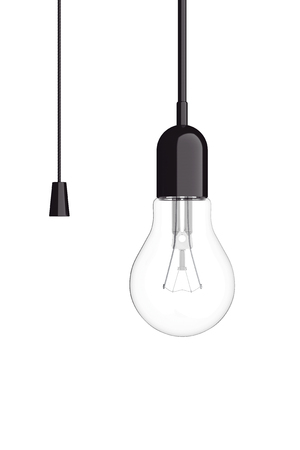 bombillo ahorrador: Light Bulb with Cord  Switch on a white background. 3d Rendering Foto de archivo