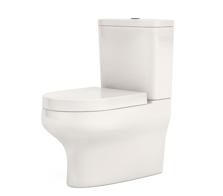 urinate: White Ceramic Toilet Bowl on a white background. 3d Rendering