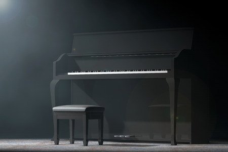 black piano: Black Piano in the volumetric light on a black background. 3d Rendering Stock Photo