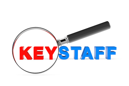 magnification: Find KeystaffConcept. Magnification Glass with Keystaff Sign on a white background. 3d Rendering Stock Photo