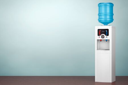 water cooler: Old Style Photo. Water Cooler with Bottle on the floor. 3d rendering