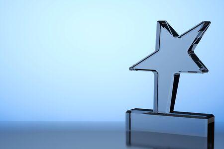 blue glass: Star Award Trophy on a blue background. 3d Rendering