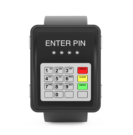 keypad: Security Concept. Smartwatch as ATM Keypad on a white background. 3d Rendering Stock Photo
