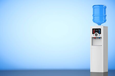 water cooler: Water Cooler with Bottle on a blue background. 3d rendering