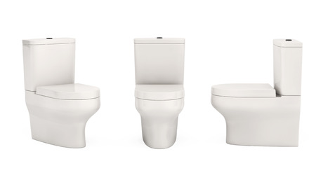empty the bowel: White Ceramic Toilet Bowls on a white background. 3d Rendering