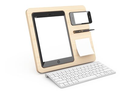 mobile devices: Wooden Mobile Devices Organiser on a white background. 3d Rendering Stock Photo