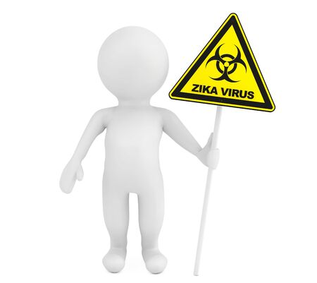 pandemia: 3d Person with Zika biohazard sign on a white background. 3d Rendering Stock Photo