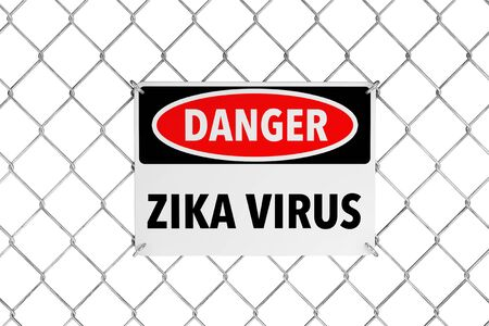 wired: Zika Virus Sign with Wired Fence a white background. 3d Rendering