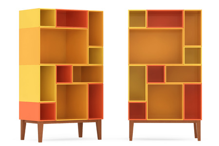 racking: Modern Abstract Shelves on a white background. 3d Rendering