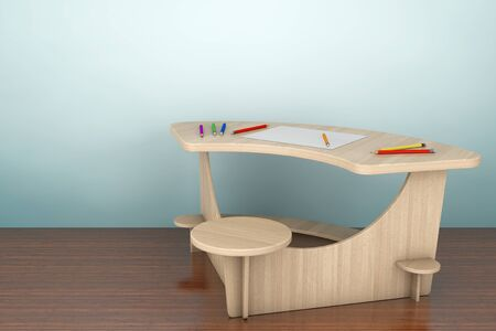 comfort classroom: Old Style Photo. Wooden Study Kid Desk with Pencils and Picture Paper on the floor. 3d rendering