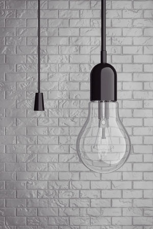 bombillo ahorrador: Light Bulb with Cord  Switch in front of Brick Wall. 3d Rendering