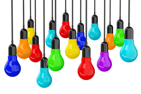 new idea: Ideas Concept. Many colourful Light Bulbs on a white background. 3d Rendering