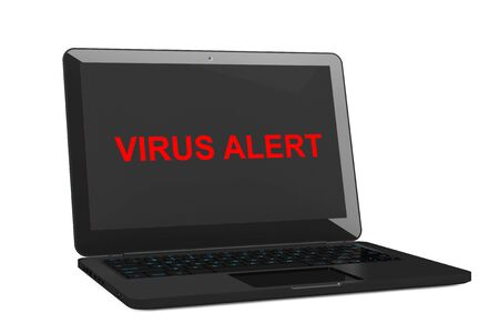 anti piracy: Mobile Security Concept. Virus Infected Laptop on a white background. 3d Rendering