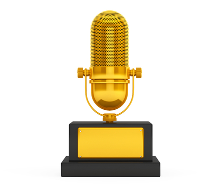 gold record: Music Award Concept. Golden Microphone on a white background. 3d Rendering