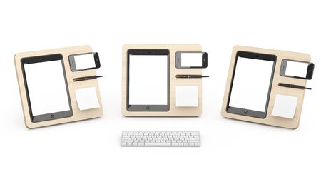 mobile devices: Wooden Mobile Devices Organisers on a white background. 3d Rendering