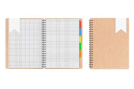 adress book: Personal Diary or Organiser Books with Blank Pages on a white background. 3d Rendering Stock Photo