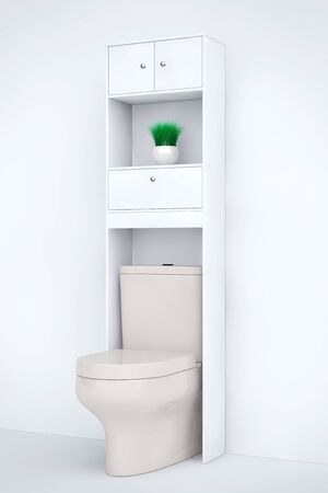 empty the bowel: White Ceramic Toilet Bowl with Shelf on a white background. 3d Rendering