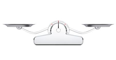 Balance de la escala sencilla sobre un fondo blanco. Representación 3d
