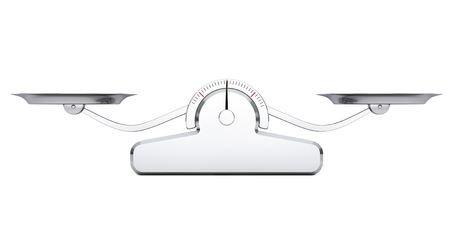 Simple Balance Scale on a white background. 3d Rendering