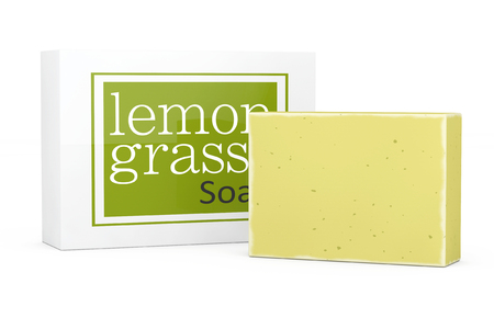 glycerin soap: Bar of Lemongrass Soap with Soapbox on a white background. 3d Rendering Stock Photo