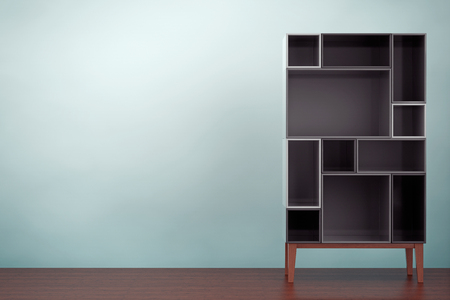 racking: Old Style Photo. Modern Abstract Shelf on the floor. 3d rendering