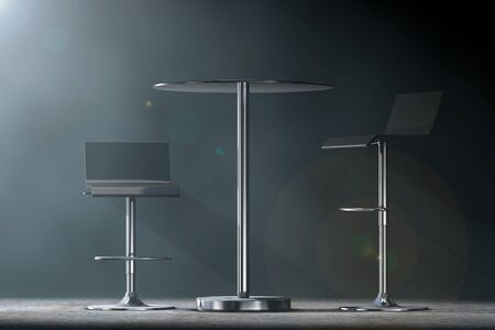 metal legs: Black Bar Vintage Stools with Table in the volumetric light on a black background. 3d Rendering