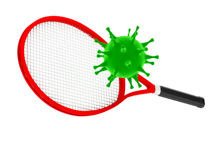 heals: Sport Kill the Virus Concept. Tennis Racket with Virus on a white background. 3d Rendering Stock Photo