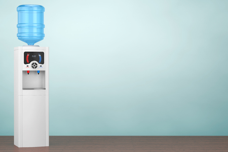 Old Style Photo. Water Cooler with Bottle on the floor. 3d rendering